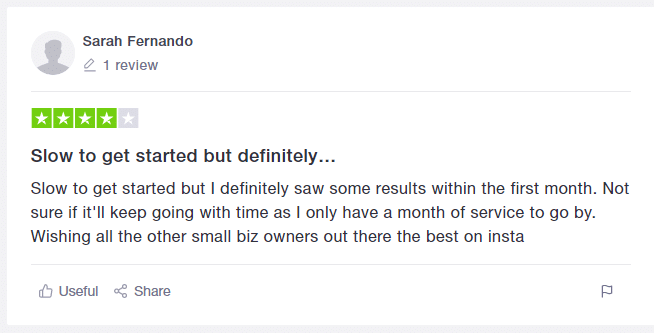 Customer 5's feedback on kicksta