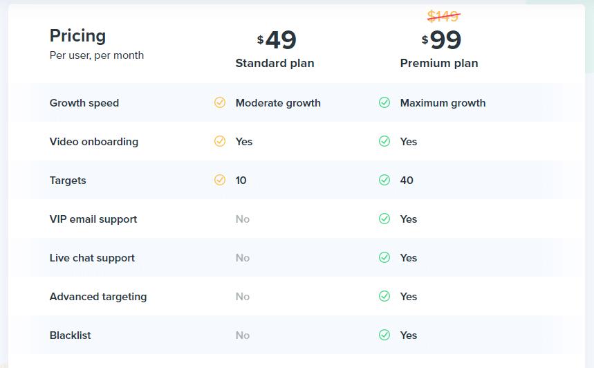 Kickstagrams pricing page